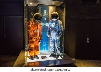 HOUSTON, TEXAS - August, 2018: inside Astronaut Gallery in The Lyndon B. Johnson Space Center (JSC) in Houston, Texas. close up of Shuttle Launch and Entry suit.