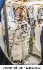 HOUSTON, TEXAS - August, 2018: inside Independence Plaza in Space Center - The Lyndon B. Johnson Space Center (JSC) in Houston, Texas. close up of space suit