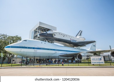 HOUSTON, TEXAS - August, 2018: Space Shuttle Independence and Shuttle Carrier Aircraft 905 in Space Center - The Lyndon B. Johnson Space Center (JSC) in Houston, Texas.