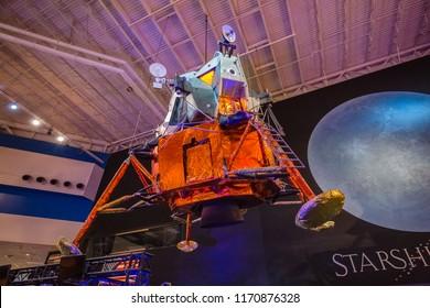 HOUSTON, TEXAS - August, 2018: view of LUNAR MODULE LTA-8 in Space Center Houston, Texas.