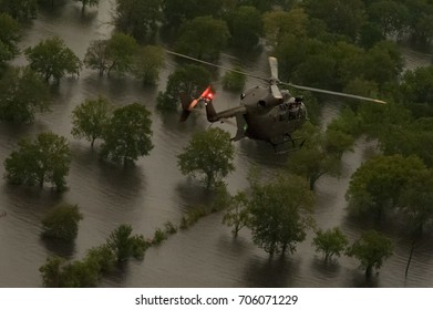 Houston, Texas - August 29, 2017: Aerial view of flooding caused by Hurricane Harvey
