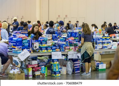 Houston, Texas, August 30, 2017: Another shelter opens at NRG Center as refugees seek safety in Houston. The shelter is fully staffed with trained support workers, stocked with supplies