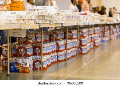 Houston, Texas, August 30, 2017: Another shelter opens at NRG Center as refugees seek safety in Houston.The shelter is fully staffed with trained support workers, stocked with supplies