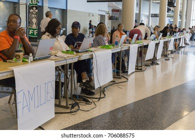 Houston, Texas, August 30, 2017: Another shelter opens at NRG Center as refugees seek safety in Houston. The shelter is fully staffed with trained support workers.