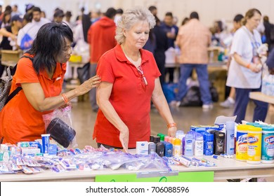 Houston, Texas, August 30, 2017: Another shelter opens at NRG Center as refugees seek safety in Houston. The shelter is fully staffed with trained support workers
