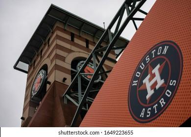 Houston, Texas - February 11, 2020: MLB's Houston Astros logo outside Minute Maid Park stadium