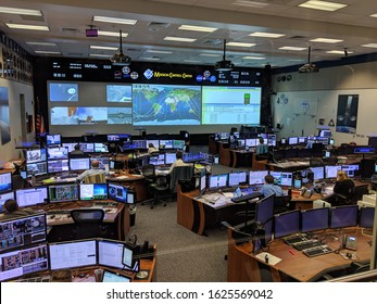 Houston, Texas- January 23, 2019: Mission Control Center at Houston Space Center