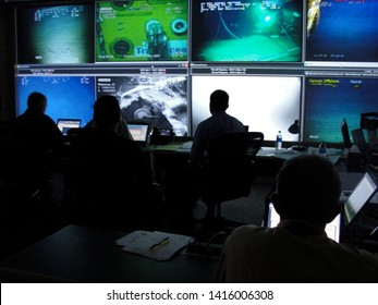 Houston, Texas - July 15, 2010: British Petroleum's Command Center coordinates submersible ROV operations over the Deepwater Horizon oil spill