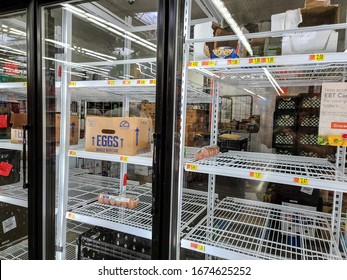 HOUSTON, TEXAS - MARCH 14, 2020: Empty Store Shelves from Hoarding a Variety of Supplies due to the Coronavirus Pandemic Scare.