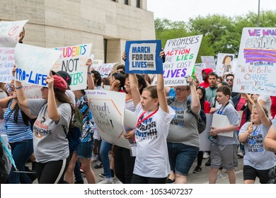 Houston, Texas - March 24, 2018: Texas students and families protest for gun control in March for Our Lives rally