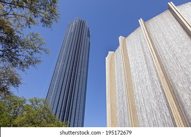 HOUSTON, TEXAS - MARCH 26, 2013: A Water Wall and Williams Tower in Houston, Texas. The Williams Tower is a 64 story near Galleria. It began construction in Aug., 1981 and was completed in Dec., 1982.
