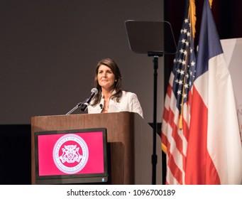 Houston, Texas - May 22, 2018: Nikki Haley, The U.S. Ambassador To The United Nations Speaks At University Of Houston
