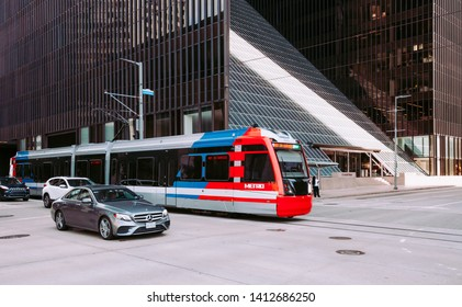 HOUSTON, TEXAS - MAY 26, 2019 - Public transportation in Houston, Texas by electric train. Commute in USA
