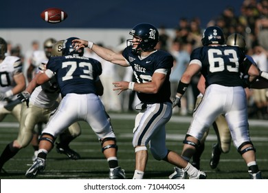HOUSTON, TEXAS - NOVEMBER 8: Rice University quarterback, Chase Clement, throws a pass in a game against Army on Nov. 8, 2008 in Houston, Texas