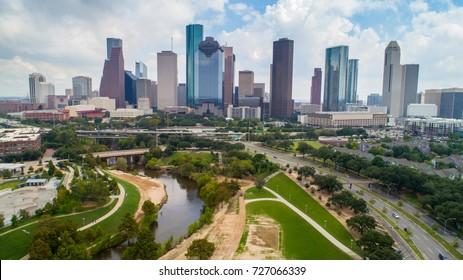 HOUSTON, TEXAS ON 2 OCT 2017: Aerial view of skyline downtown Houston building city, at buffalo bayou park, Houston, Texas, USA