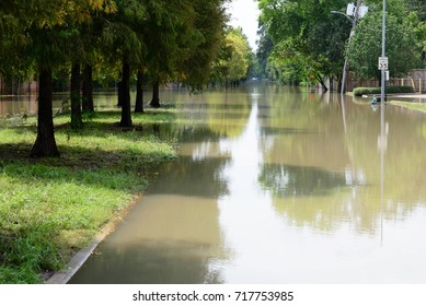 Houston, Texas, post hurricane Harvey flooded neighborhoods. September 3, 2017. Outdoor streetscapes