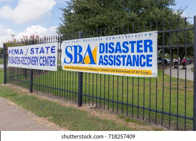 Houston, Texas - September 11, 2017: A State of Texas/FEMA Disaster Recovery Center at the Bayland Community Center (Harris County) staffed with recovery specialists from FEMA,SBA, and State agencies