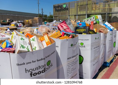 Houston, Texas - September 7, 2017: Local charities and food pantries provide food, medicine and basic supplies to individuals and families in need during national emergencies or government shutdown