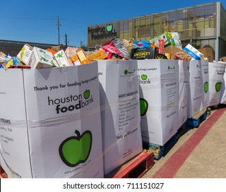 Houston, Texas, September 7, 2017: Donations pour in after hurricane Harvey. Local charities such as the Houston Food Bank provide food and supplies to individuals and families in need