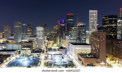 Houston Texas Skyline at night from thirty stories above!