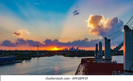 Houston, Texas skyline from port