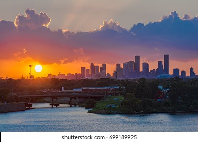 Houston, Texas skyline from port