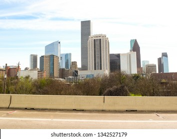 The Houston, Texas skyline as seen from the Katy Freeway.