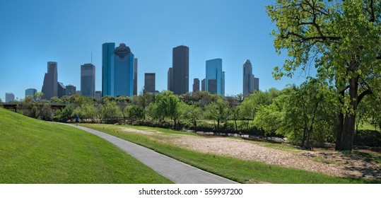 Houston Texas skyline from Woodland Park with the treelined river