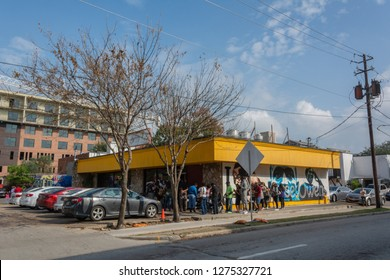 Houston, Texas, United States of America - December 27, 2016. Exterior view of Breakfast Klub restaurant in Houston, with people lining up in front the entrance.
