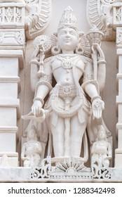 Houston, Texas, United States of America - January 16, 2017. Religious statue outside of Hindu temple BAPS Shri Swaminarayan Mandir in Houston, TX.