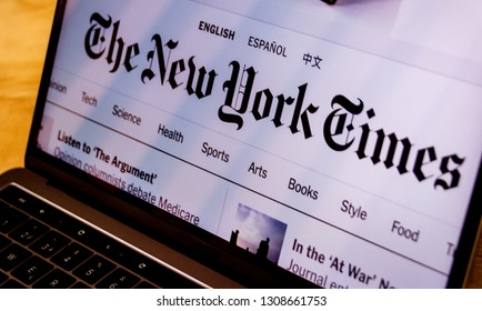 Houston, Texas / United States of America - 08/2/2019: Photograph of The New York Times landing web page displayed on computer screen