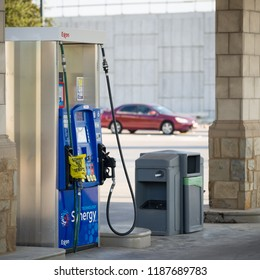 Houston, Texas, USA, 07 SEPTEMBER 2017: The gas pump is depleted. Hurricanes Harvey and Irma caused a shortage of gasoline at the stations. The fuel station does not work because of a lack of fuel.