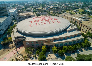 HOUSTON, TEXAS, USA - AUGUST 1, 2018: Aerial drone image of the Toyota Center Houston Texas USA