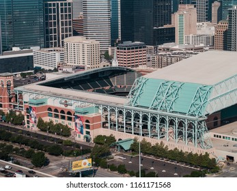 HOUSTON, TEXAS, USA - AUGUST 1, 2018: Aerial drone image of the Minute Maid Park Houston Texas