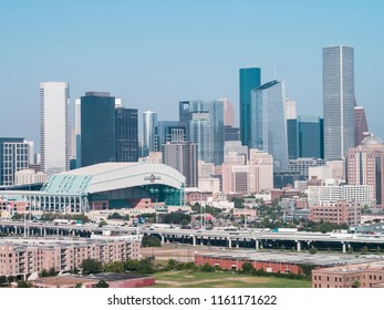 HOUSTON, TEXAS, USA - AUGUST 1, 2018: Aerial drone photo of Minute Maid Arena and Downtown Houston Texas USA