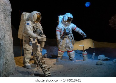 HOUSTON, TEXAS, USA- AUGUST 10, 2019 Apollo Astronauts on the moon displayed at The Johnson Space Center in Houston, TX
