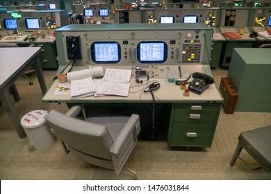 HOUSTON, TEXAS, USA- AUGUST 10, 2019-  Inside the Historic Christopher C. Kraft Jr. Mission Control Center at The Johnson Space Center in Houston Texas