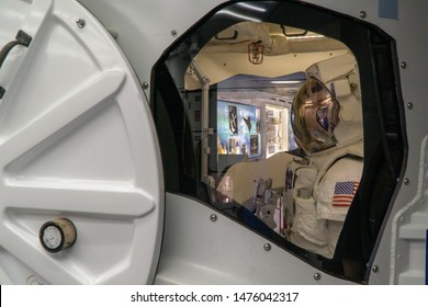 HOUSTON, TEXAS, USA- AUGUST 10, 2019- Astronaut inside the Space Shuttle at The Johnson Space Center Houston, TX