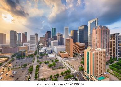 Houston, Texas, USA downtown city skyline at twilight.