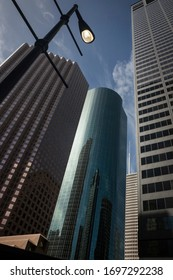 Houston, Texas, USA – July 29, 2013: Vertical low angle view of some of the Skyline District skyscrapers, Downtown
