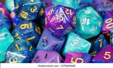 Houston, Texas / USA - November 25, 2019: Blue and Purple D&D Dice for TTRPG