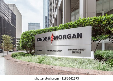 Houston, Texas, USA - September 22, 2018: Sign of Kinder Morgan at Company headquarters in Houston, US. Kinder Morgan, Inc. is one of the largest energy infrastructure companies in North America.