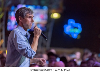 Houston, Texas, USA - September 8, 2018: Beto O'Rourke, Texas Democratic Candidate for the U.S. Senate at a Political Rally in Houston