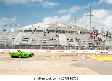 Houston, Texas/United States - June 29, 2014: At the Indy Car Houston Grand Prix street circuit. With the Houston Astrodome as a backdrop.