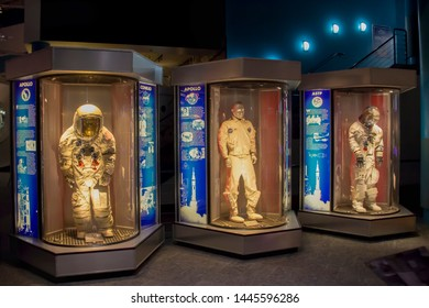 Houston, Texas/United States; June 6th 2015: Astronauts with space suits, Space Center Houston, visitor center of Lyndon B. Johnson Space Center, National Aeronautics and Space Administration (NASA)