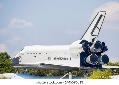 Houston, Texas/United States; June 6th 2015: Space shuttle at the Space Museum in Space Center Houston, official visitor center of Lyndon B. Johnson Space Center (NASA)