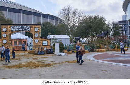 Houston, Tx - 3rd March 2015: People walking around, and past the Champion Wine Garden at the Houston Livestock Show and Rodeo in Texas.
