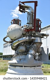 HOUSTON, TX - APR 19: J-2 Engine at Space Center in Houston Texas on April 19 2019. Its a science and space learning center, NASA Johnson Space Center official visitor center and a Smithsonian museum.