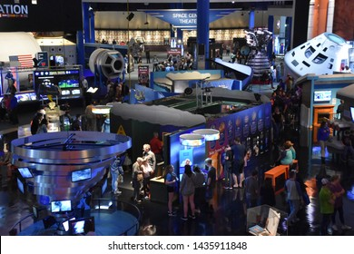 HOUSTON, TX - APR 19: Main plaza at Space Center in Houston Texas on April 19 2019. Its a science and space learning center, NASA Johnson Space Center official visitor center and a Smithsonian museum.