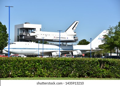 HOUSTON, TX - APR 19: NASA 905 at Space Center in Houston Texas on April 19 2019. Its a science and space learning center, NASA Johnson Space Center official visitor center  and a Smithsonian museum.